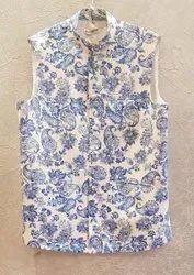 LINEN SATIN WHITE N BLUE Modi Jackets, Size: 40