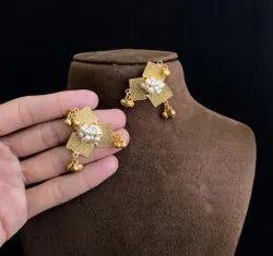 Golden Brass Contemporary Earrings