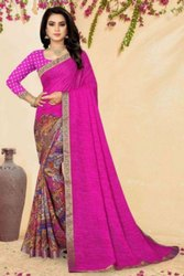 INCHROCK FASHION Party Wear 60 Gram Printed Sarees, 6 m (with blouse piece)
