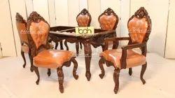 Dn-03 Wooden Carving Dark Brown Dining Set