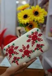 Off White Ethnic Clutch Design
