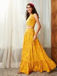 Janasya Women's Mustard Rayon Crop Top With Skirt(J0193)
