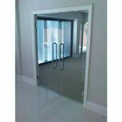 Swing Plain Transparent Toughened Glass Door, Thickness: 12 Mm