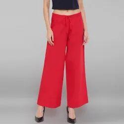 Janasya Women's Red Pure Cotton Palazzo Pant (BTM036)