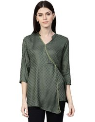 Viscose Rayon Casual Wear Jaipur Kurti Women Green Solid A-Line Dobby Top
