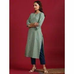 Janasya Women''s Light Green Cotton Kurta (JNE3574)