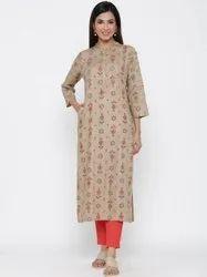 Jaipur Kurti Women Khaki Ethnic Motif Straight Viscose Rayon Kurta