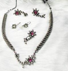 Oxidized Silver Fashion Necklace Set