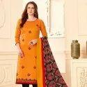 Banarsi Slub Fancy Embroidery Suit With Mill Print Bottom