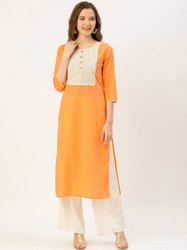 Jaipur Kurti Peach Thread Work Straight Kurta With Rayon Solid Off White Palazzo