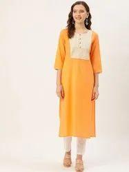 Jaipur Kurti Peach Thread Work Straight Kurta