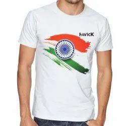 Cotton White Plain Round Neck T Shirt, Size: Medium