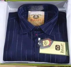 Cotton Full Sleeves Designer Navy Blue Shirt