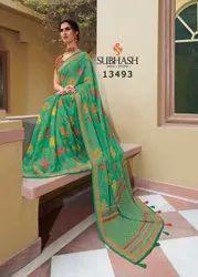 13493- Floral Work Brasso Saree By Subhash Brand