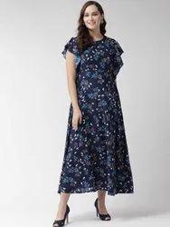 Polyester Navy Blue Ladies Western Wear Printed Dress