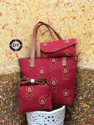 DY Cotton, Pu Leather Ladies Stylish Ikkat Combo Bag, For Casual Wear