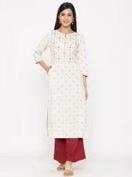 Jaipur Kurti Women Off White Hand Work Straight Cotton Blend Kurta