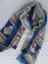 Floral Blue Screen Print Cotton Mulmul Dupattas