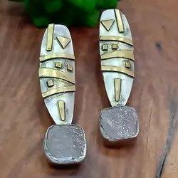 Brass Oxidized Earrings, Size: 2.5 Inch