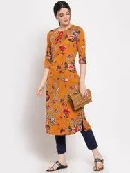 Women Printed A-Line Crepe Kurta(Yellow)
