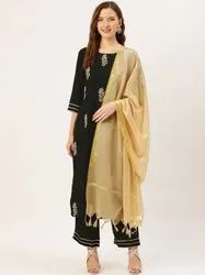 Jaipur Kurti Black Embroidered Straight Kurta With Palazzo & Dupatta