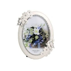 Silver Plated Photo Frame Round With Butterfly