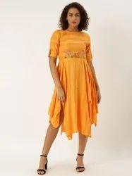Viscose Rayon Casual Wear Jaipur Kurti Mustard Yarn Dyed Embroidered Flared Dress
