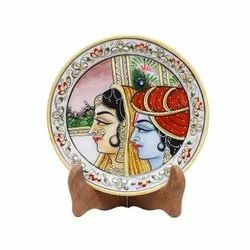 White Marble Decorative Plates, For Home Decoration, 9 Inch
