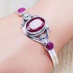 925 Sterling Silver Ruby Gemstone Jewelry Bangle