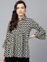 Ladies Black & White Striped Tunic Top