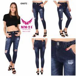 Cotton Denim Faded Funky Elastic Jeans (Dark Blue)