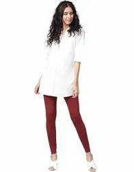 Jaipur Kurti Women Maroon Solid Cotton Lycra Leggings