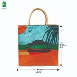 Juteberry Printed Jute Bags, Size/Dimension: 12 X 12 X 5 Inches
