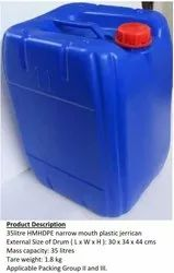 Blue 3H1 Plastic Jerrican For Chemical, Capacity: 35 Litre