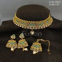 Indian Traditional Polki Necklace Set