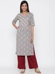 Jaipur Kurti Women Grey Ethnic Motif Straight Cotton Blend Kurta