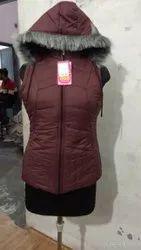 Ladies Polyester Mock Collar Sleeveless Jacket