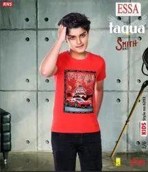 Essa Casual Wear Kids Red Printed Cotton T Shirt