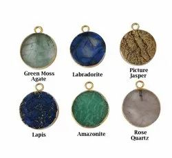 Gemstone Round Slice Pendant - 14mm Round Gold Edged Gemstone Charms