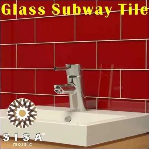 Brick Pattern Crystal Glass Mosaic Tile