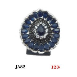 Party Wear Blue Ladies Designer Ring, 80 Gm