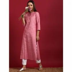 Janasya Women's Pink Cotton Flex Kurta With Side Pocket (JNE3605)