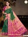 Present New Designing Banarasi Silk Saree With Good Looking Blouse Piece