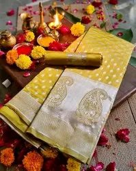 Ank Enterprise Party Wear Traditional Pure Lichi Soft Silk Fashion Saree, 6.3 m (With Blouse Piece)