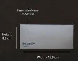 Rectangular Metallic Gray Silver NP18 Personalize Designer Shagun Envelope, Thickness: 230 Gsm