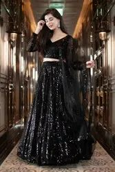 Nivah Fashion Party Wear Black Georgette Sequence Embroidery Work Lehenga Choli