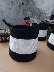 Black and White Cotton Dori Basket