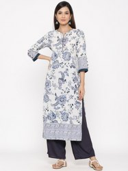 Jaipur Kurti Women White Floral Print Straight Cotton Kurta With Palazzo