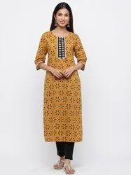 Jaipur Kurti Women Mustard & Black Ethnic Motif Straight Cotton Kurta With Pants