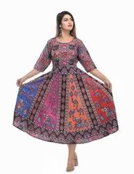 Jaipuri Print Sleeves Attached Frock